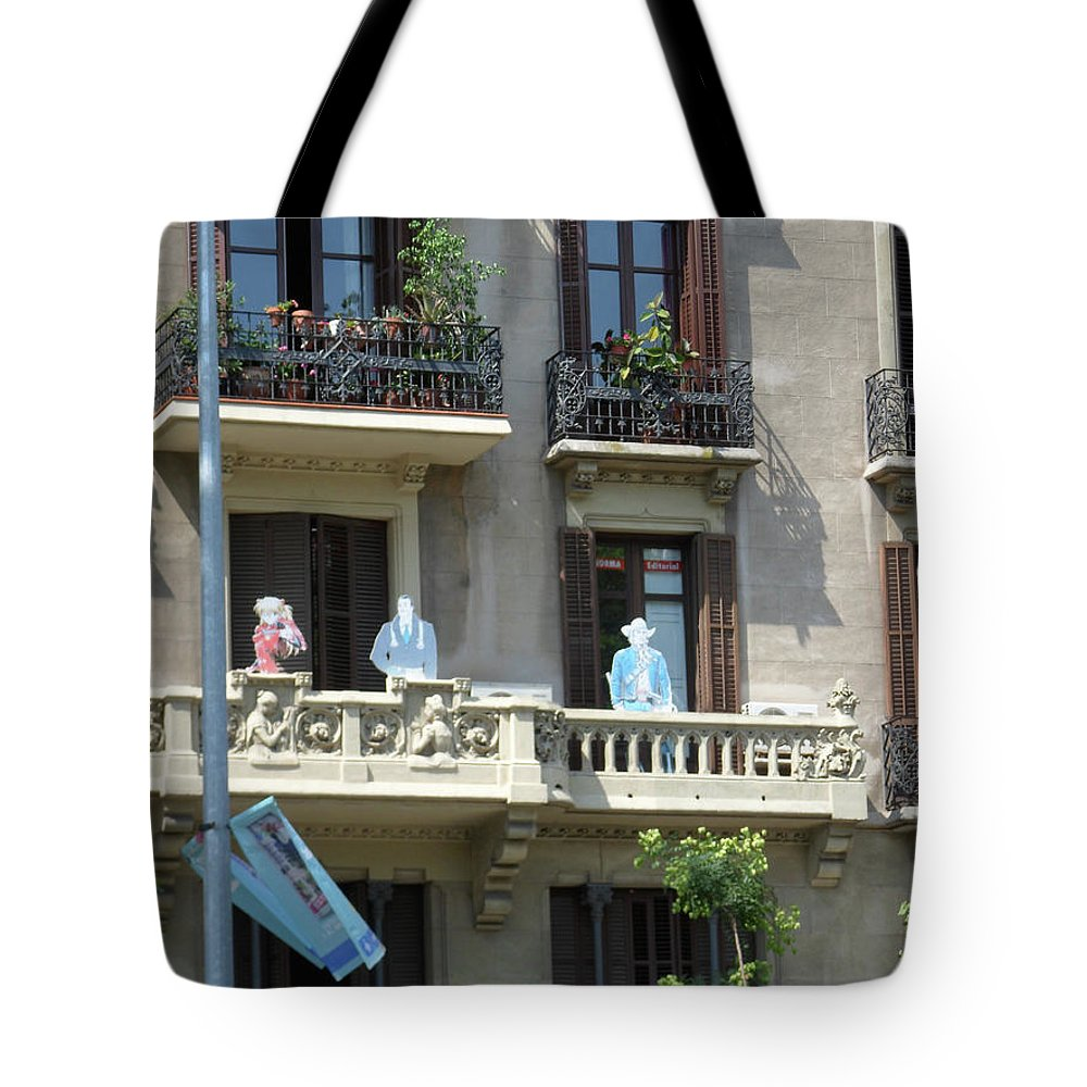 Barcelona Tote Bag featuring the photograph Superheroes On The Sant Joan by Marwan George Khoury