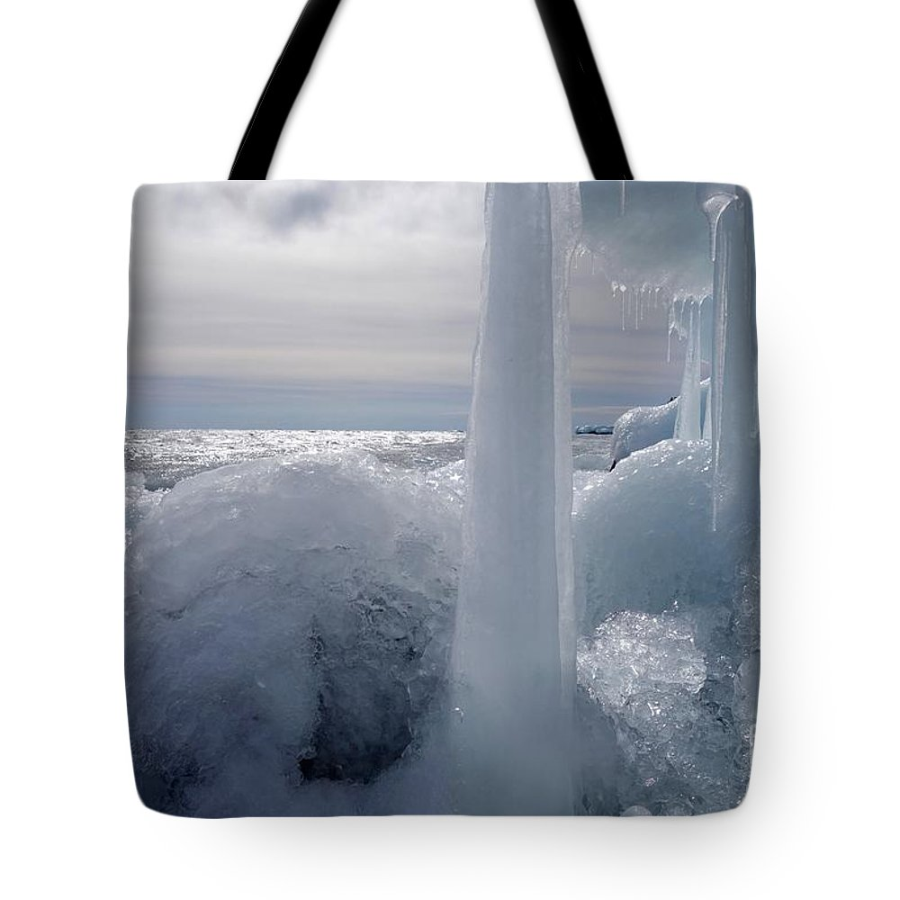 Ice Tote Bag featuring the photograph Superior March Day by Sandra Updyke