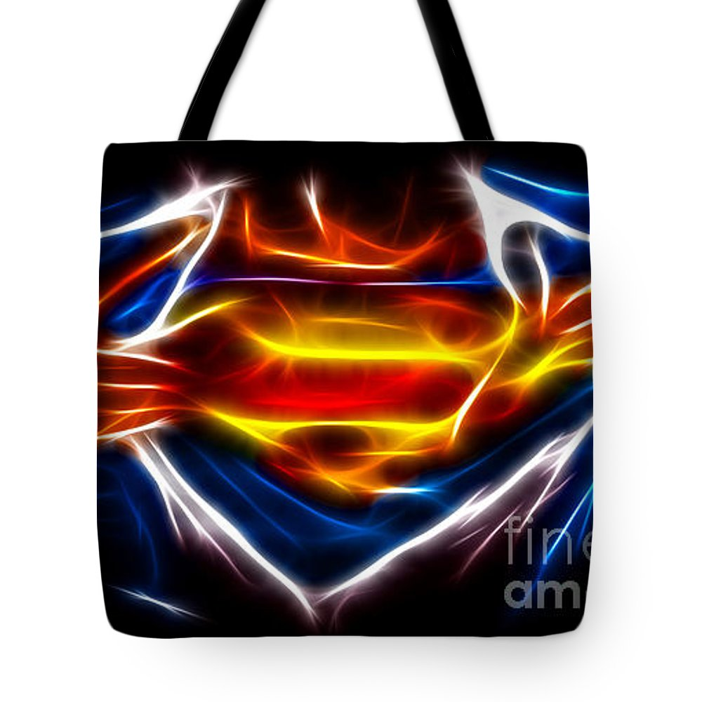 Superman Tote Bag featuring the mixed media Superman by Pamela Johnson