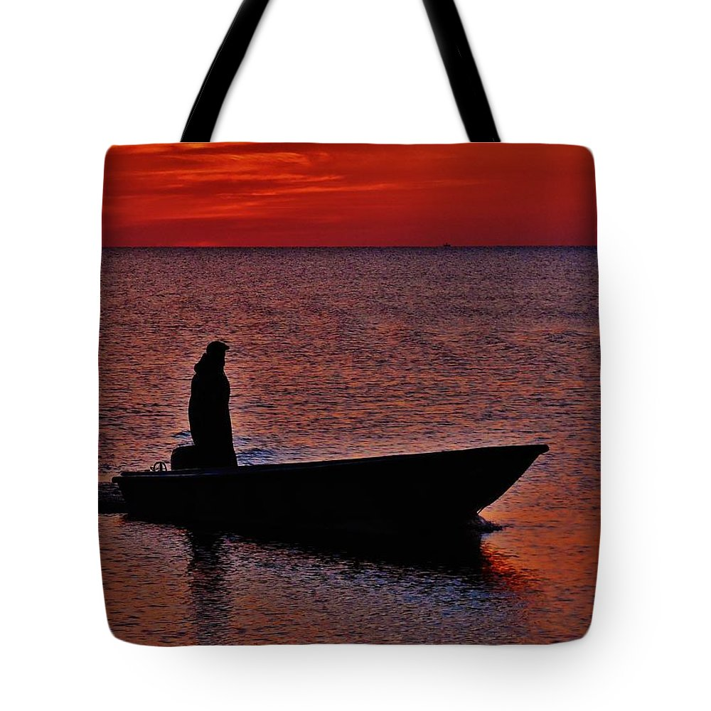 Mark Lemmon Cape Hatteras Nc The Outer Banks Photographer Subjects From Sunrise Tote Bag featuring the photograph Support Commercial Fishermen 6 411 by Mark Lemmon