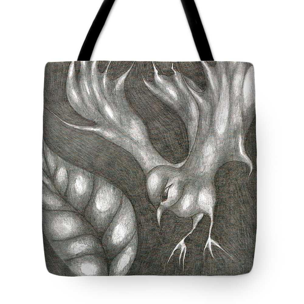 Joy Tote Bag featuring the drawing Supposedly Bird by Wojtek Kowalski