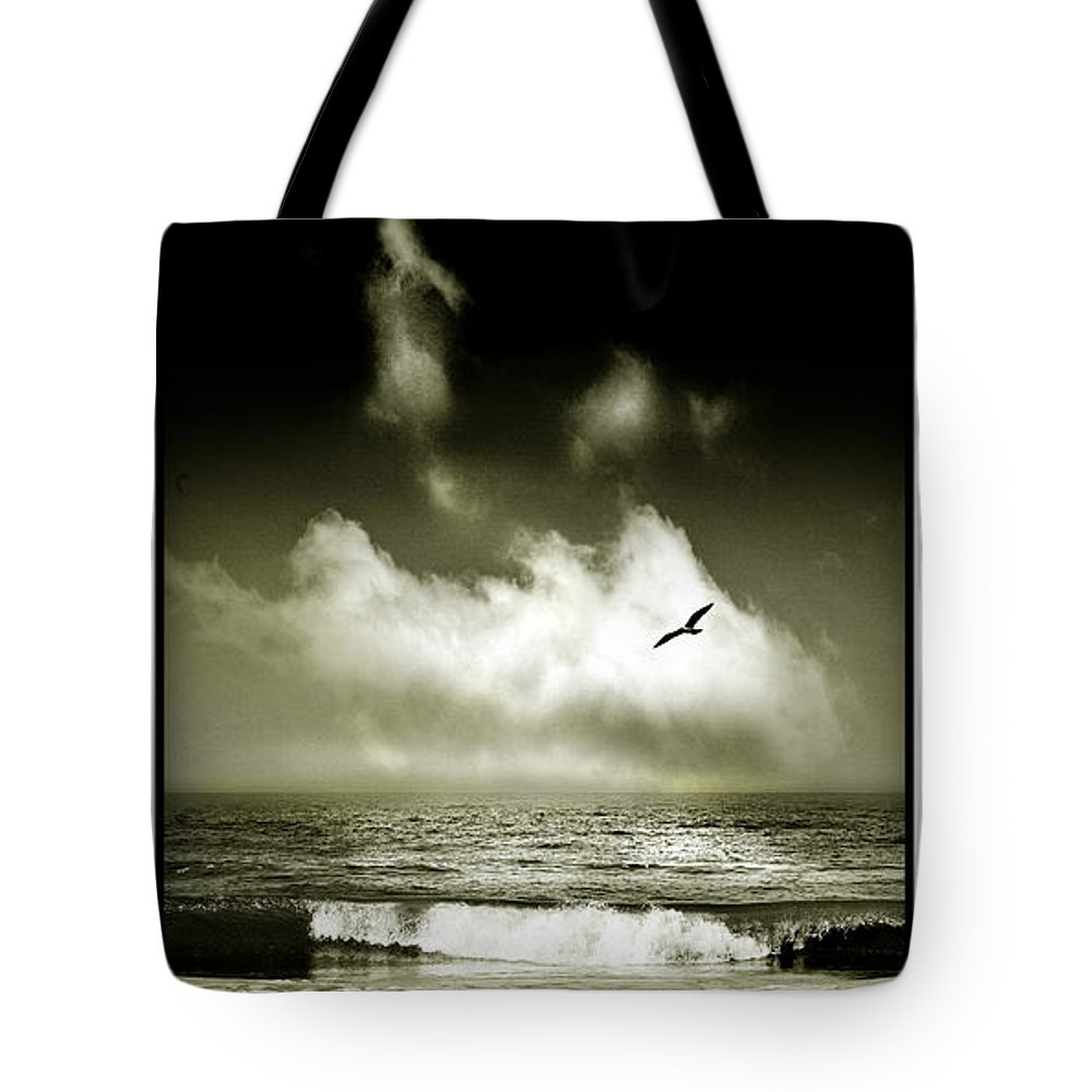 Waves Tote Bag featuring the photograph Surf And Sky At Rhos On Sea North Wales by Mal Bray