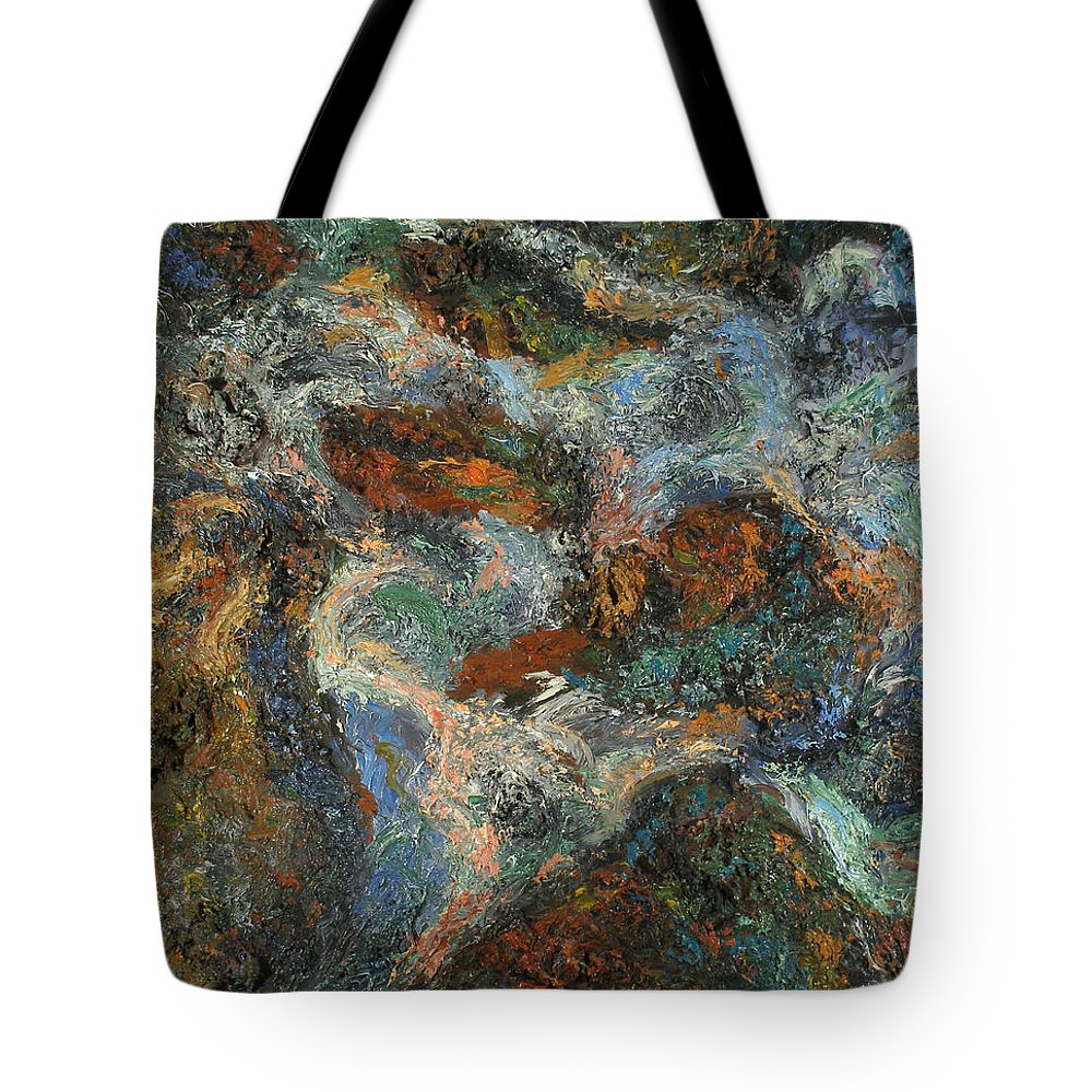 Landscape Tote Bag featuring the painting Stones by Robert Nizamov