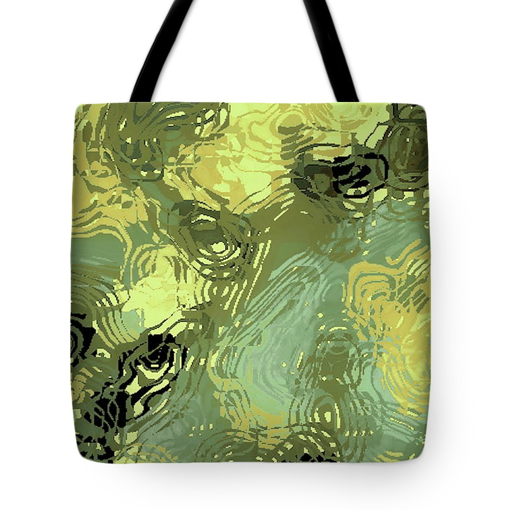 Digital Altered Photo Tote Bag featuring the digital art Surface Of An Ohio Creek by Tim Richards