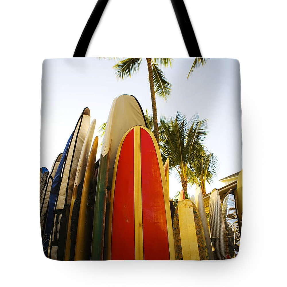 Afternoon Tote Bag featuring the photograph Surfboards At Waikiki by Dana Edmunds - Printscapes