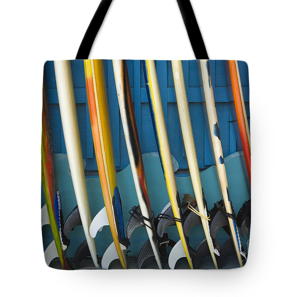 Afternoon Tote Bag featuring the photograph Surfboards by Dana Edmunds - Printscapes