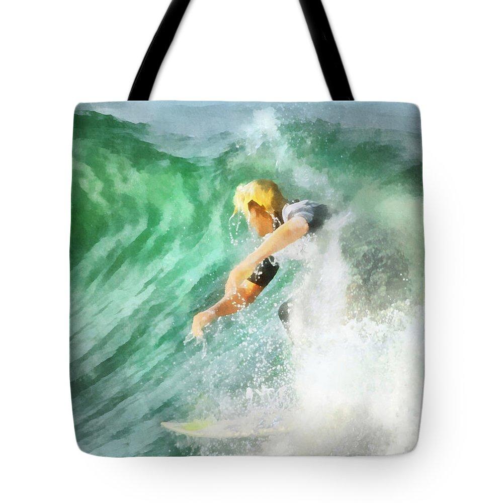 Surf Tote Bag featuring the digital art Surfer 46 by Francesa Miller