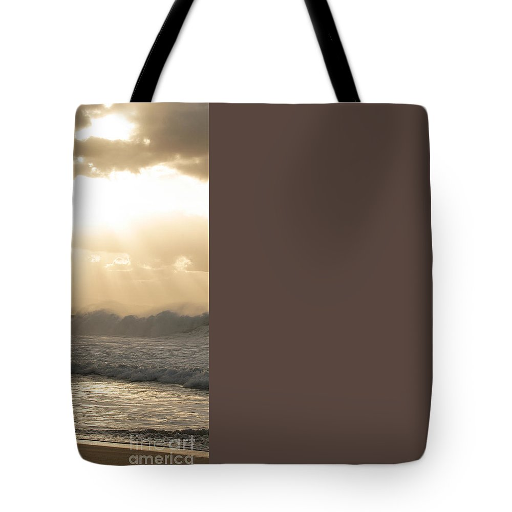 Action Tote Bag featuring the photograph Surfer At Sunset by Vince Cavataio - Printscapes