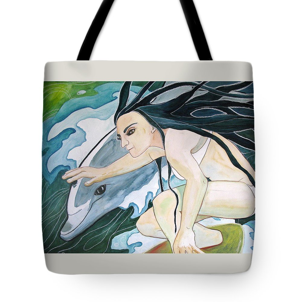 Surfers Tote Bag featuring the painting Surfers by Kimberly Kirk