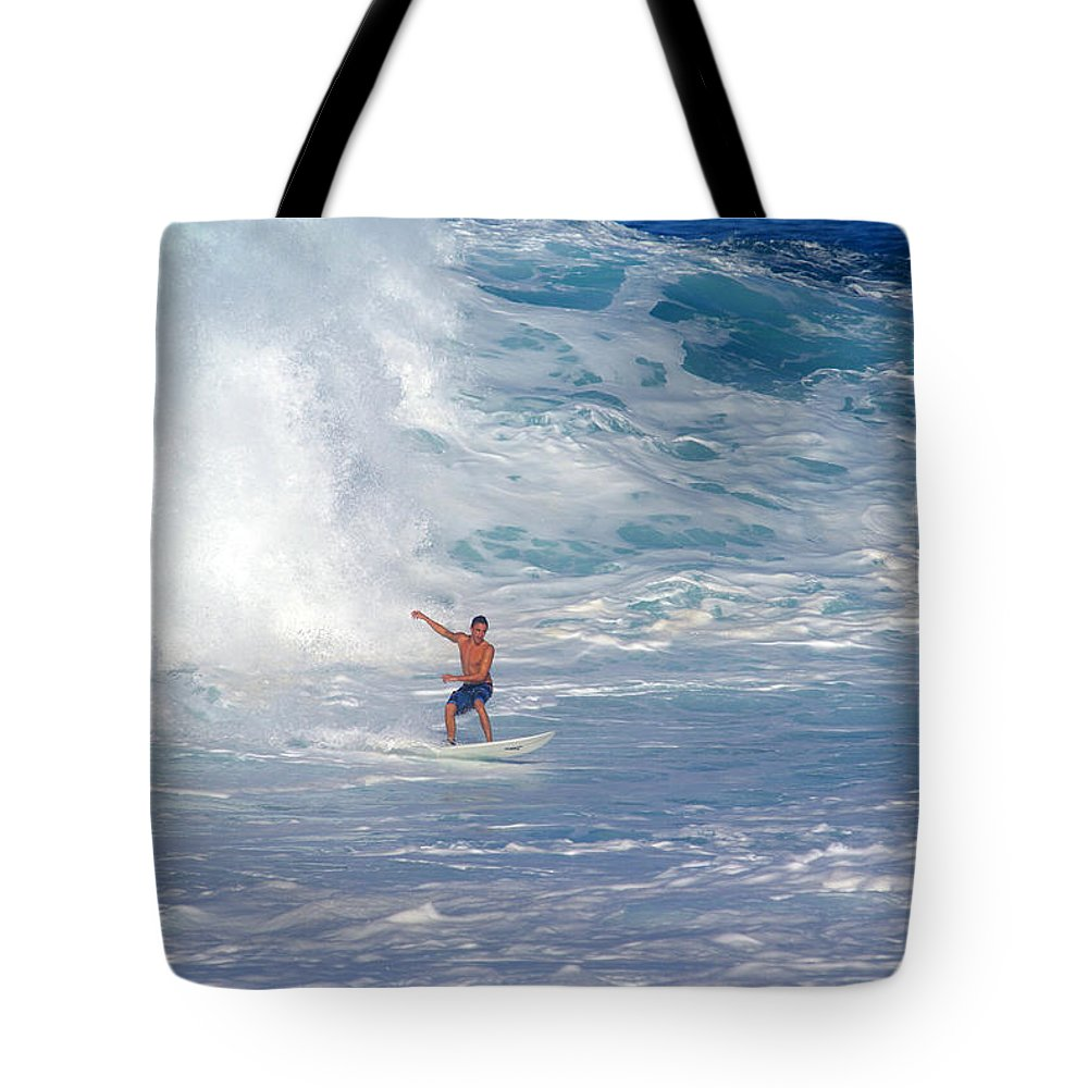 Da Hui Backdoor Shootout Tote Bag featuring the photograph Surfer's Soup by Kevin Smith
