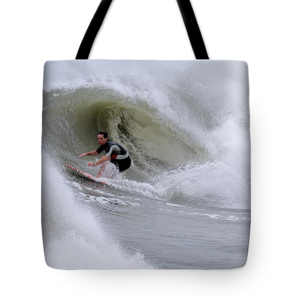 Surfing Tote Bag featuring the photograph Surfing Bogue Banks 1 by John Wijsman