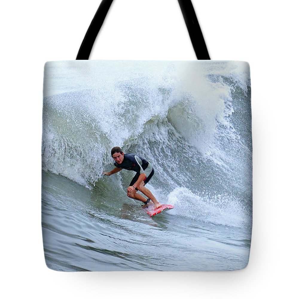 Surfing Tote Bag featuring the photograph Surfing Bogue Banks 3 by John Wijsman