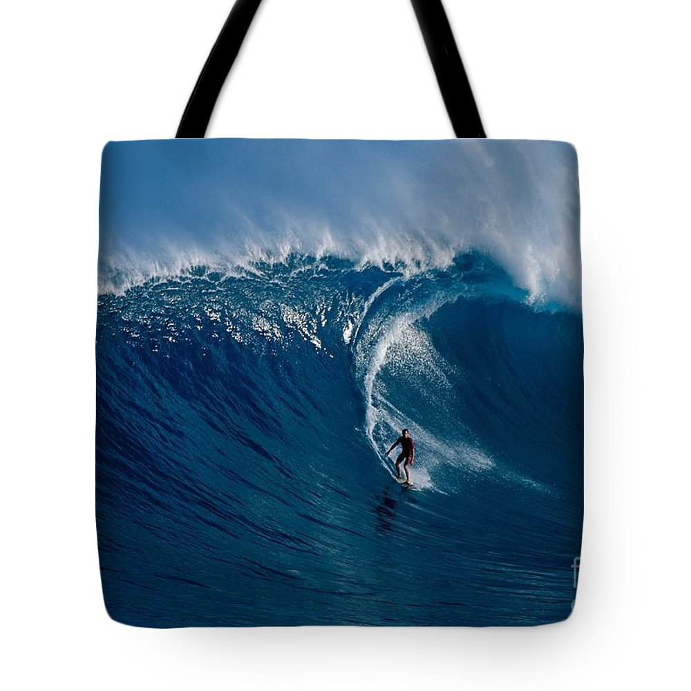 Adrenaline Tote Bag featuring the photograph Surfing Jaws by Ron Dahlquist - Printscapes