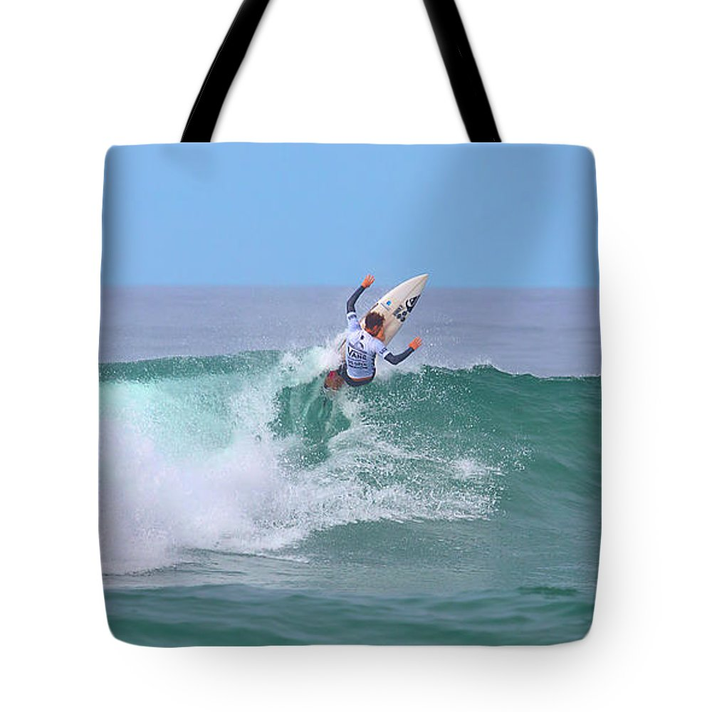 Us Open Of Surfing 2017 Tote Bag featuring the photograph Surfing Panorama by Brian Knott Photography