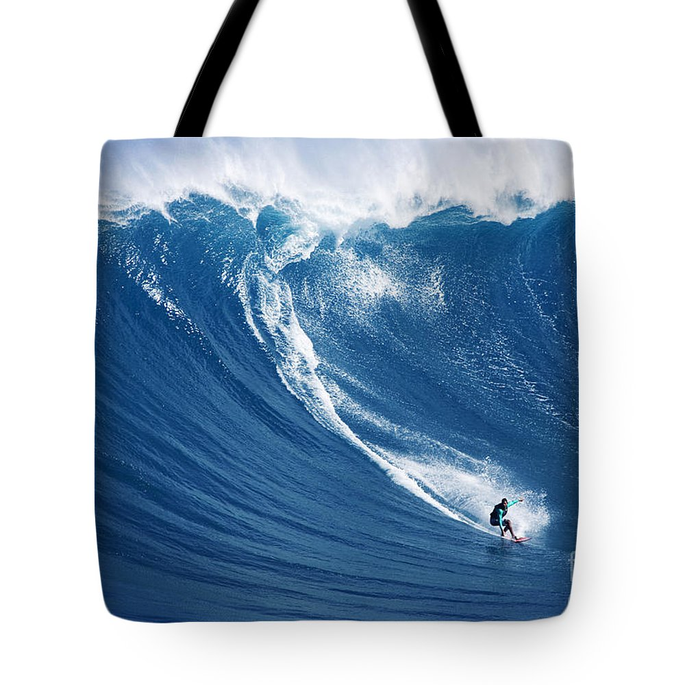 Adrenaline Tote Bag featuring the photograph Surfing The Infamous Jaws by Ron Dahlquist - Printscapes