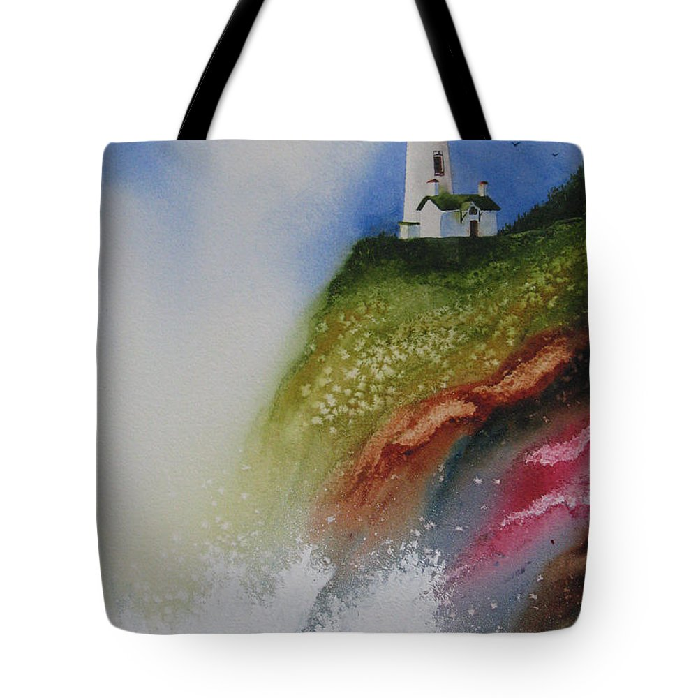 Lighthouse Tote Bag featuring the painting Surfside by Karen Stark