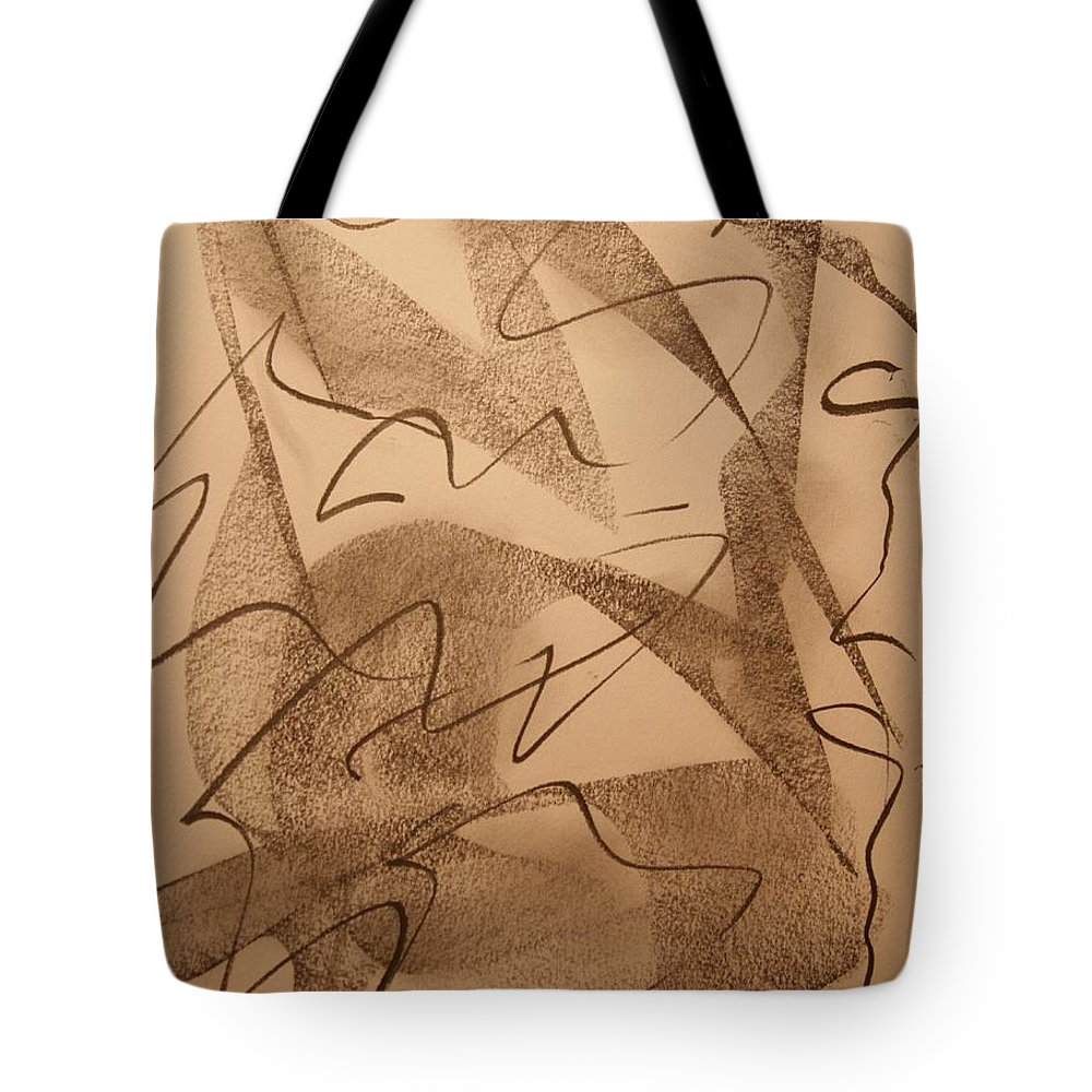Abstract Tote Bag featuring the drawing Surpassed Time by David Barnicoat