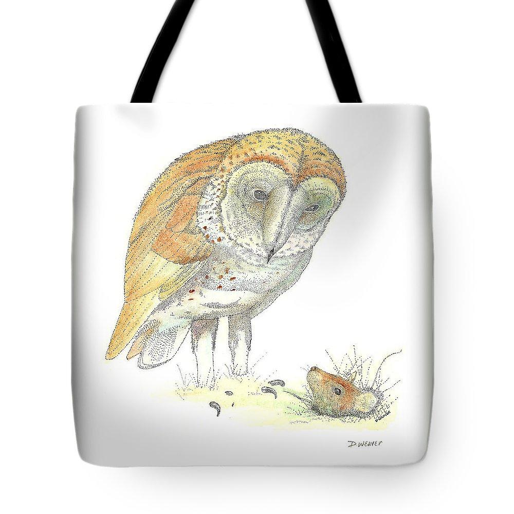 Owl Standing Over Field Mouse Tote Bag featuring the drawing Surprise by David Weaver