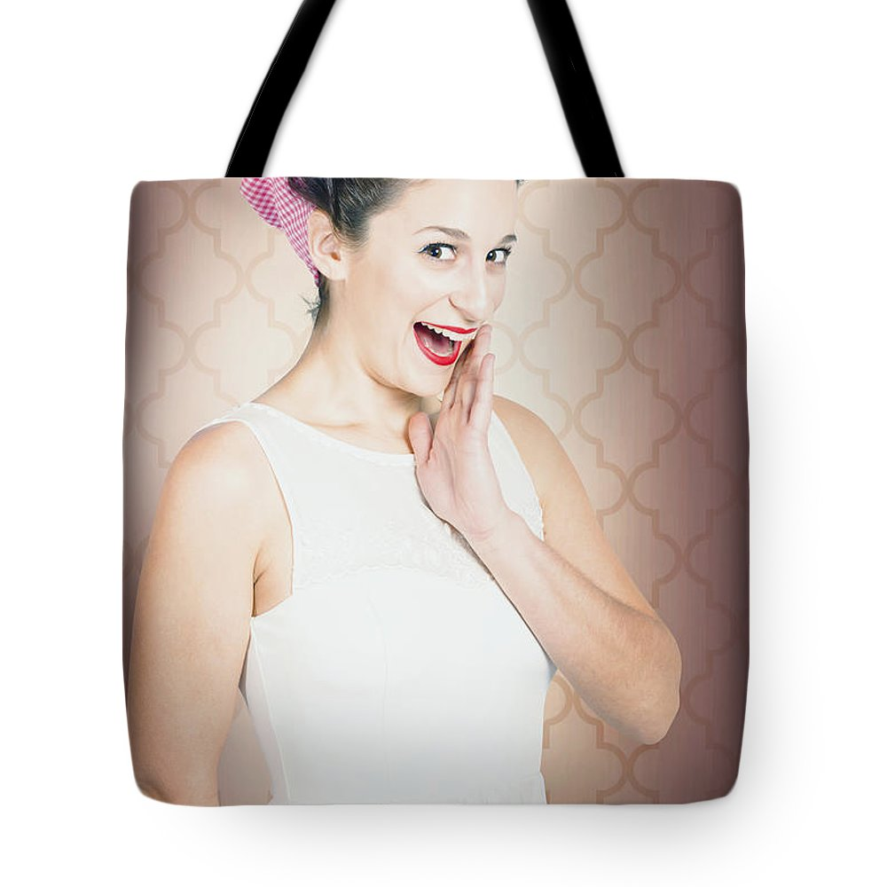 Beautiful Tote Bag featuring the photograph Surprised Woman With Brunette Hair And Red Lips by Jorgo Photography - Wall Art Gallery