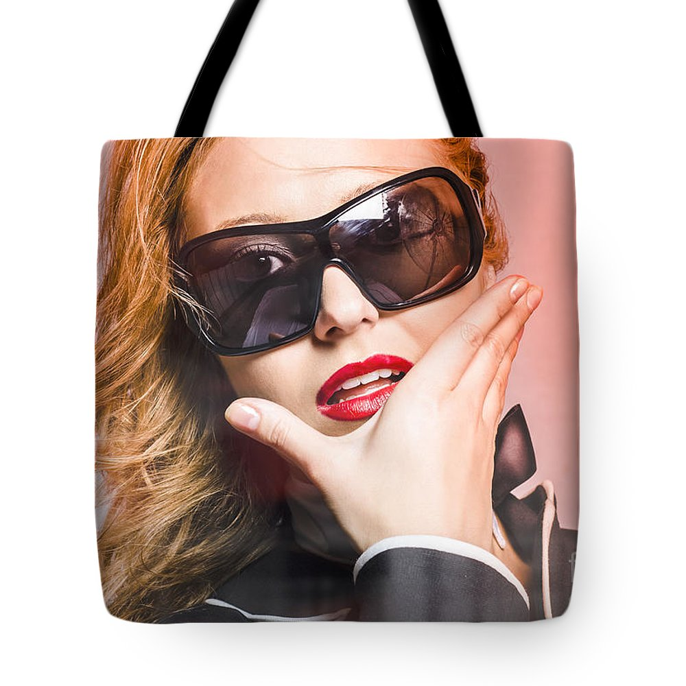 Sunglasses Tote Bag featuring the photograph Surprised Young Woman Wearing Fashion Sunglasses by Jorgo Photography - Wall Art Gallery