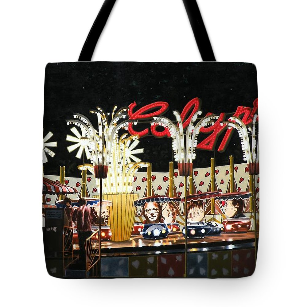 Surreal Tote Bag featuring the painting Surreal Carnival by Dave Martsolf