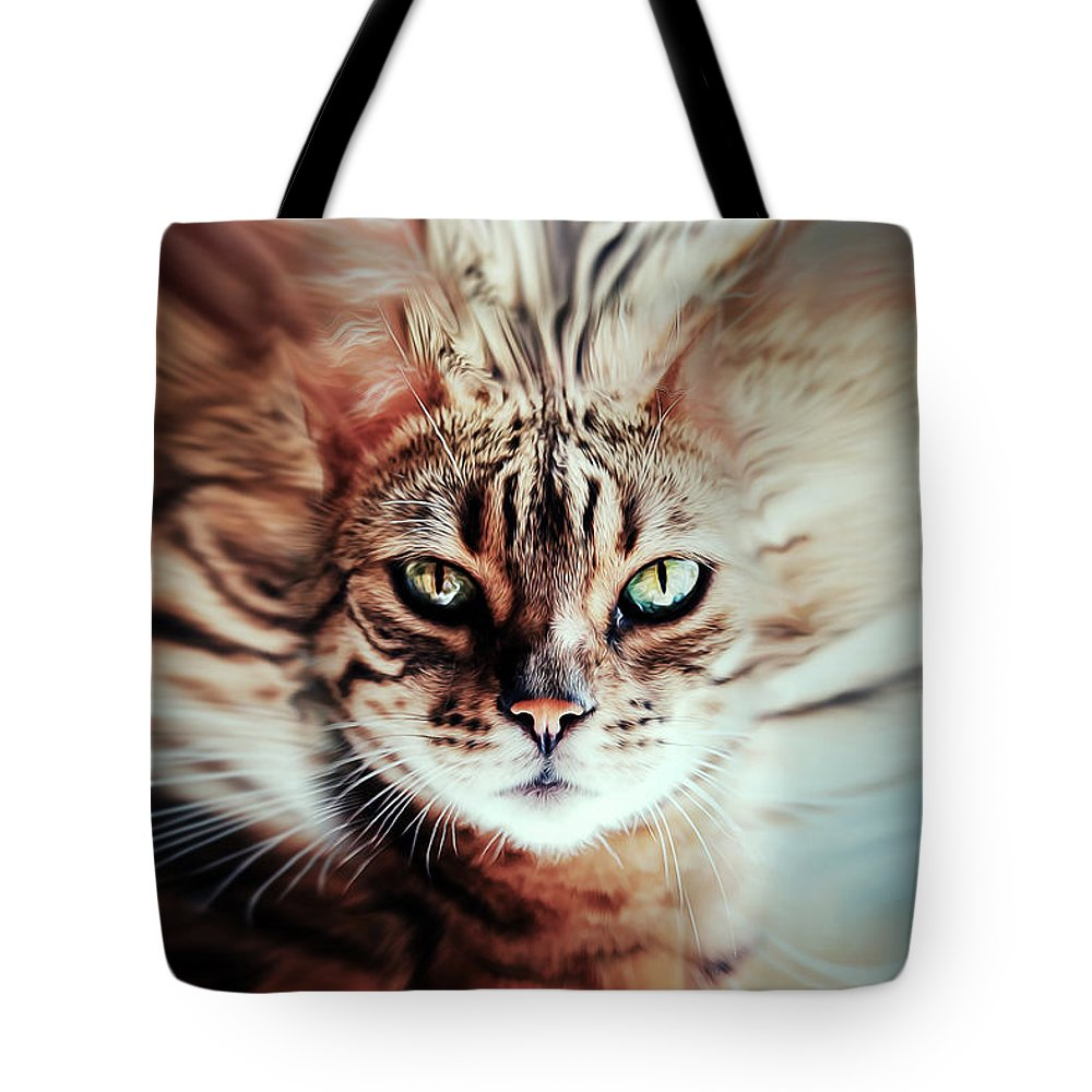 Surrealism Tote Bag featuring the photograph Surreal Cat by Nannie Van der Wal