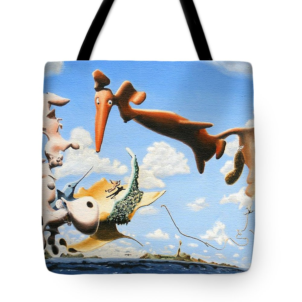 Surreal Tote Bag featuring the painting Surreal Friends by Dave Martsolf