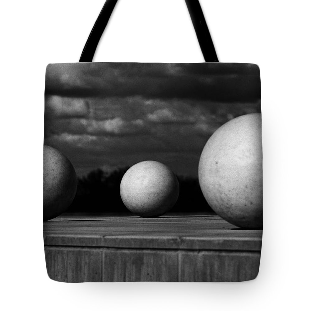 Black And White Tote Bag featuring the photograph Surreal Globes by Peter Piatt