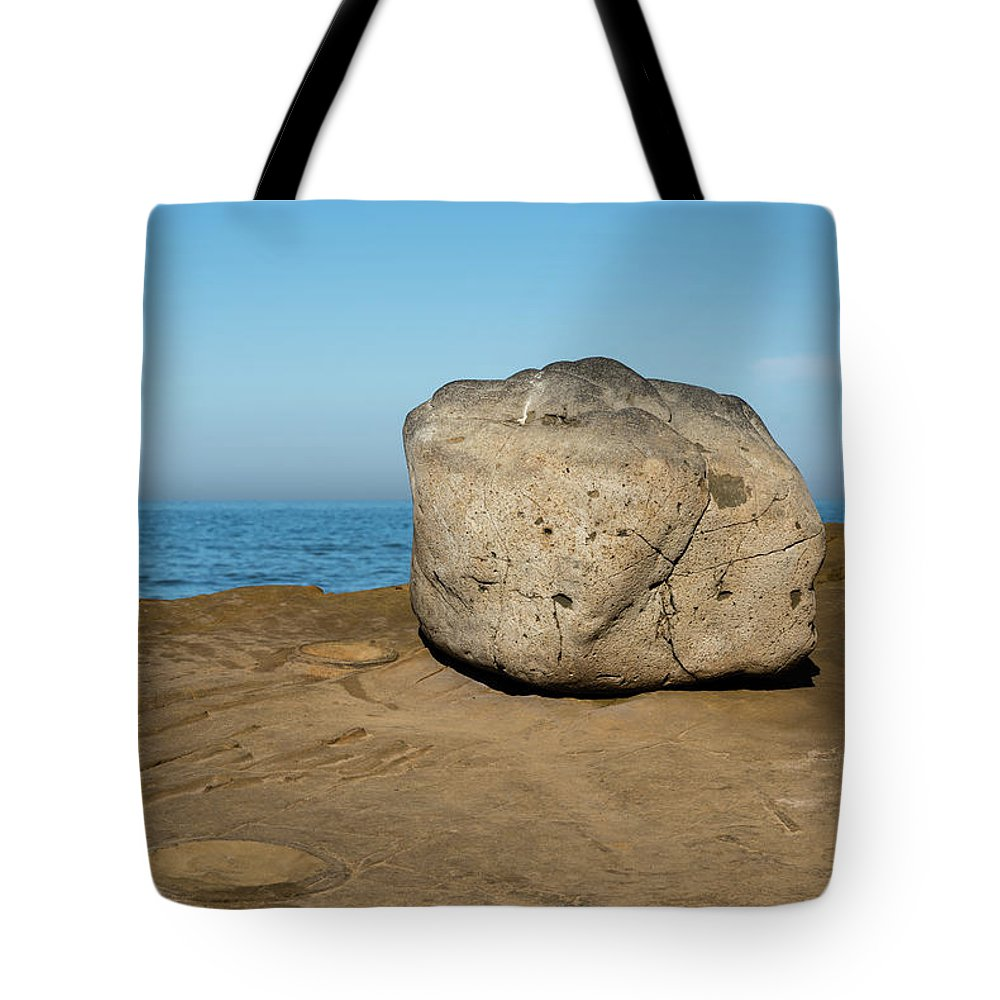 Surreal Rock Tote Bag featuring the photograph Surreal Rock At Point Loma by Robert VanDerWal