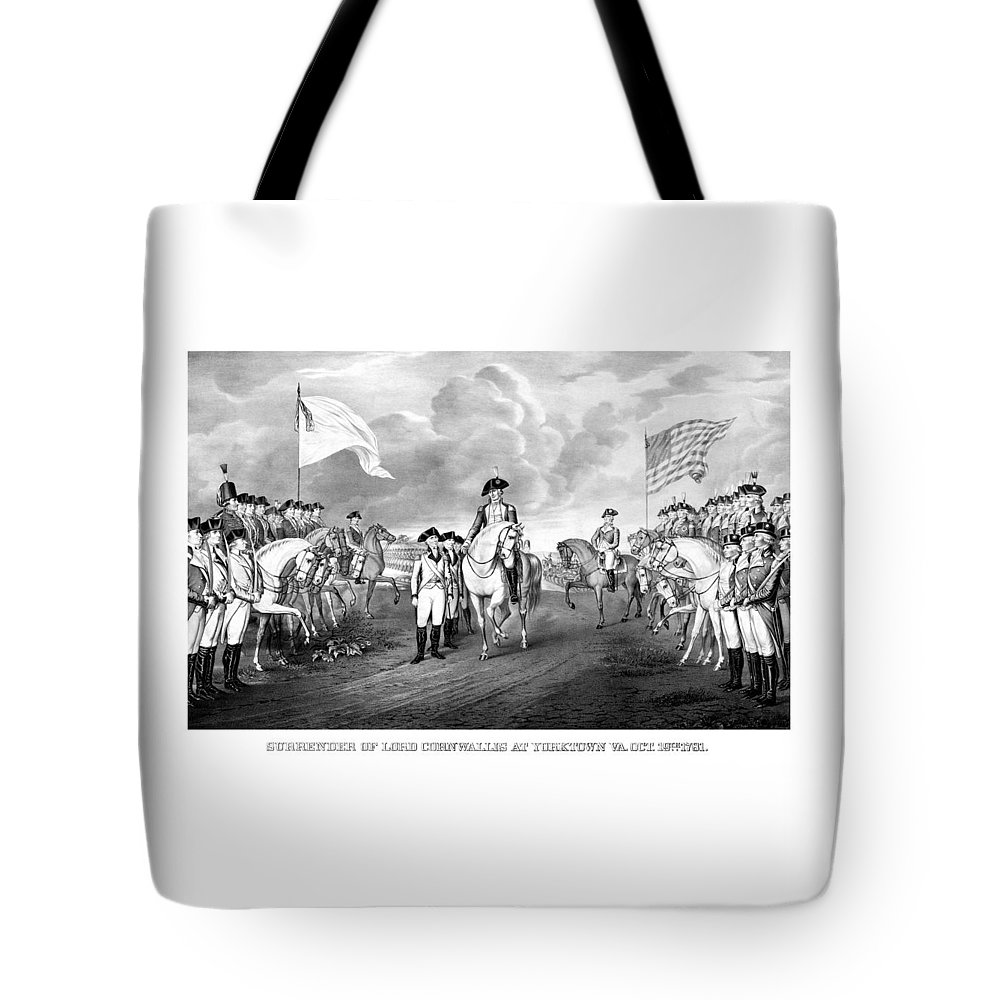 George Washington Tote Bag featuring the mixed media Surrender Of Lord Cornwallis At Yorktown by War Is Hell Store