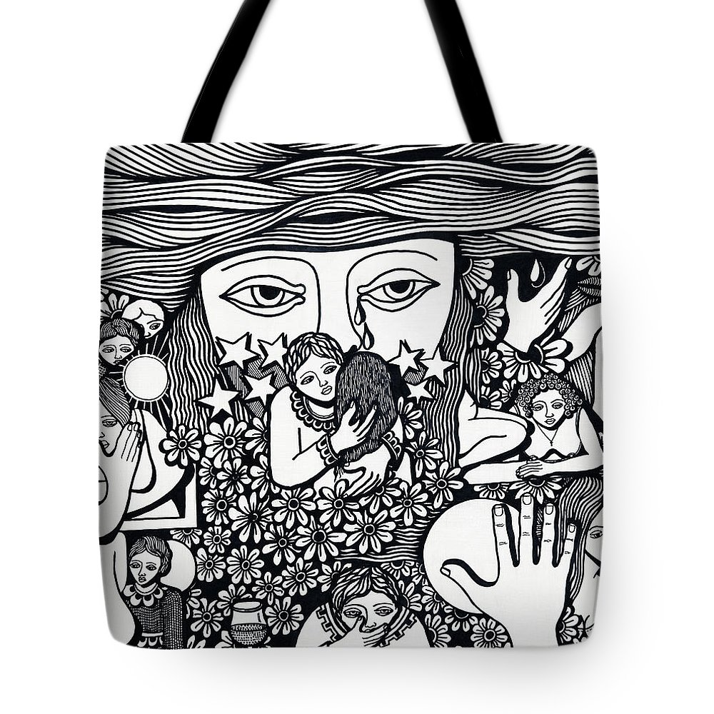Drawing Tote Bag featuring the drawing Surround Yoursel With Roses Love Drink And Be Silent The More Is Nothing by Jose Alberto Gomes Pereira