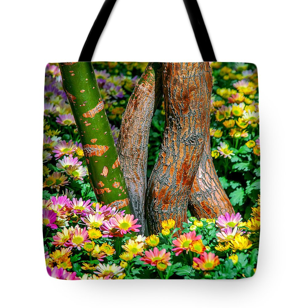 Spring Flowers Tote Bag featuring the photograph Surrounded by Az Jackson