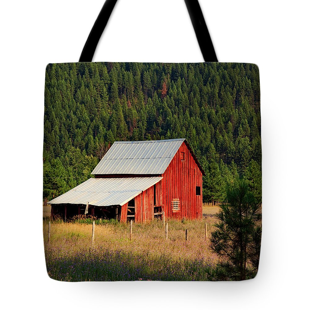 Barn Tote Bag featuring the photograph Surrounded By Forest by Mountain Dreams