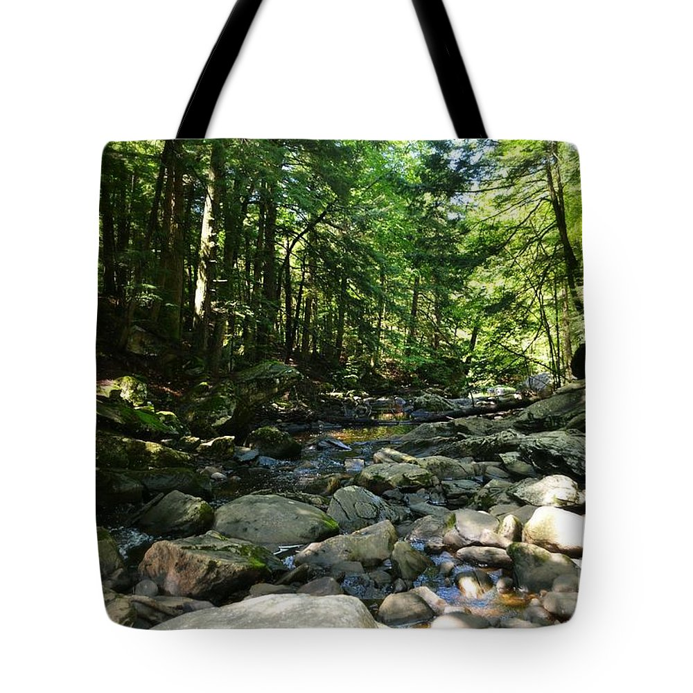 Wahconah Falls Tote Bag featuring the photograph Surrounded by Julie Street