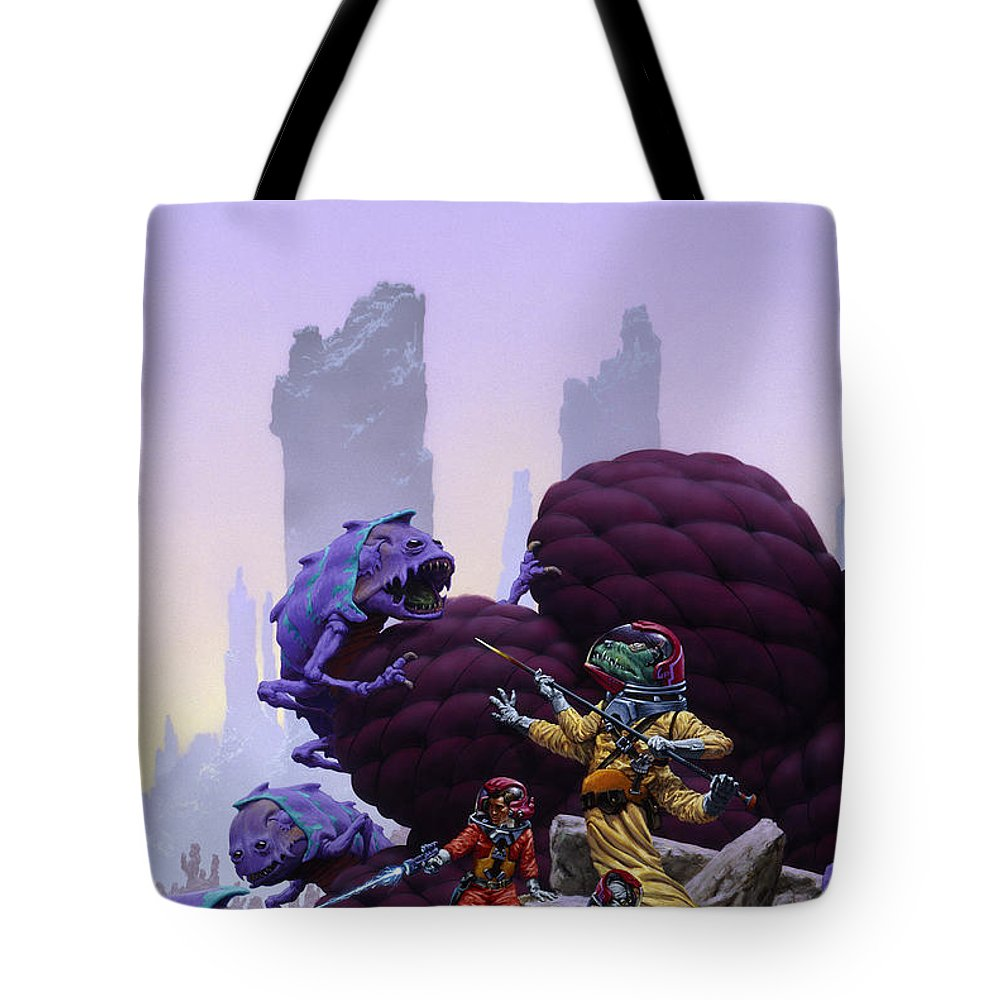 Space Tote Bag featuring the painting Surrounded by Richard Hescox