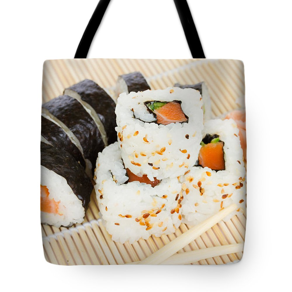 Sushi Tote Bag featuring the photograph Sushi by Anastasy Yarmolovich