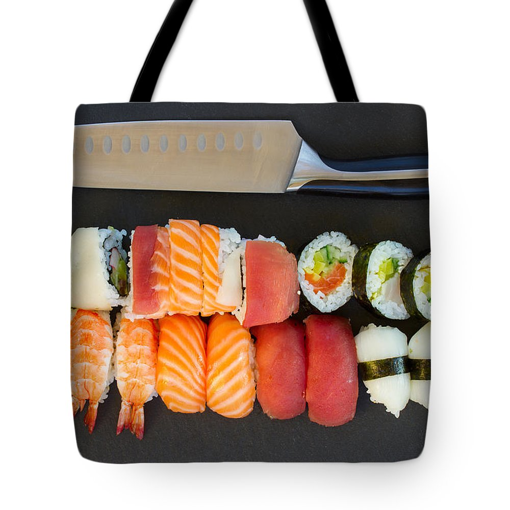 Sushi Tote Bag featuring the photograph Sushi And Knife by Anastasy Yarmolovich