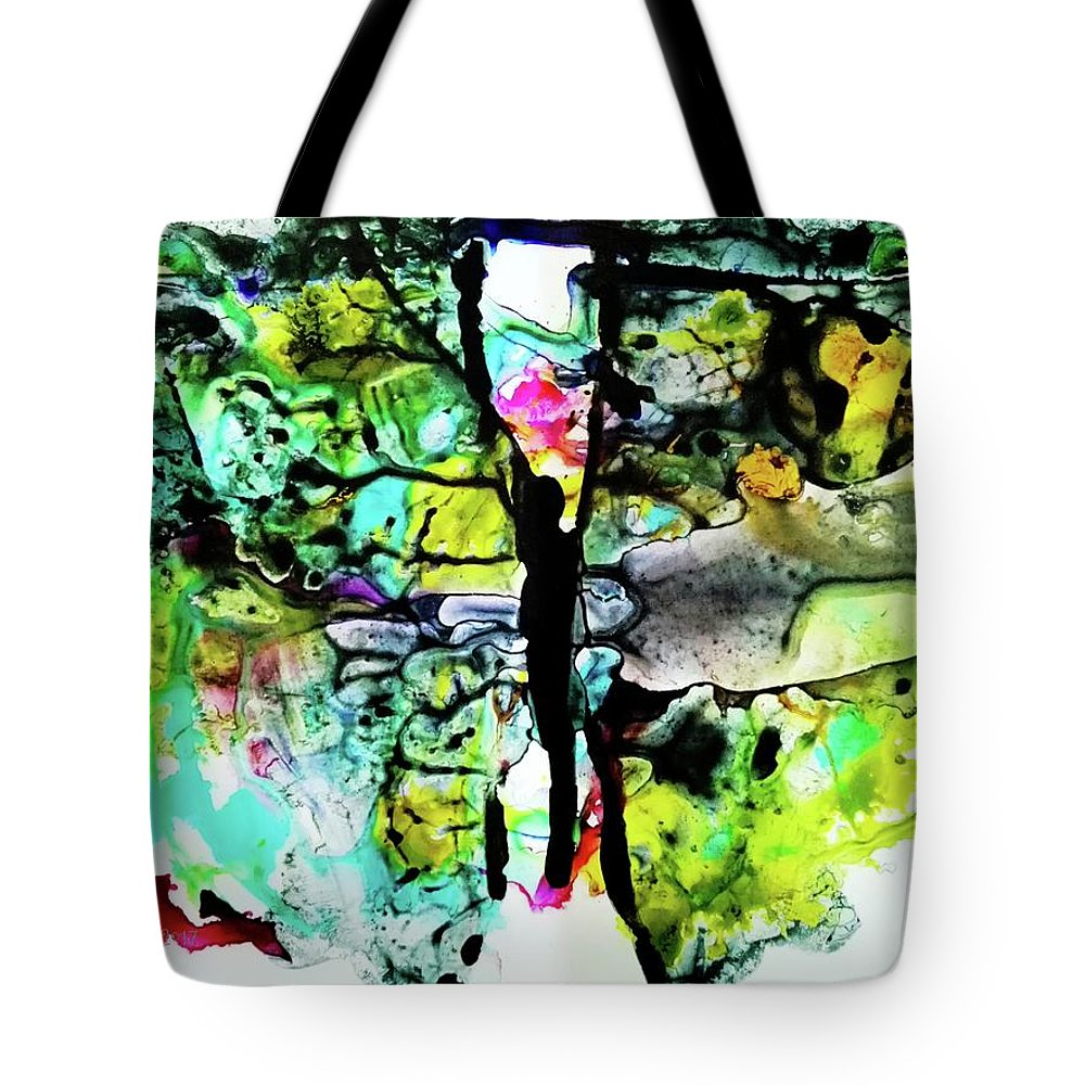Suspended Tote Bag featuring the painting Suspended by Mimulux patricia No
