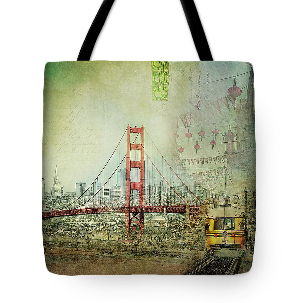 San Francisco Tote Bag featuring the photograph Suspension - Golden Gate Bridge San Francisco Photography Mixed Media Collage by Melanie Alexandra Price