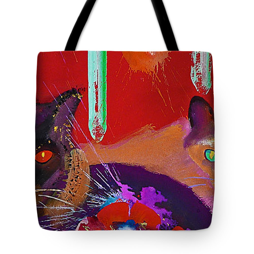 Cat Tote Bag featuring the painting Suspicious Minds by Charles Stuart