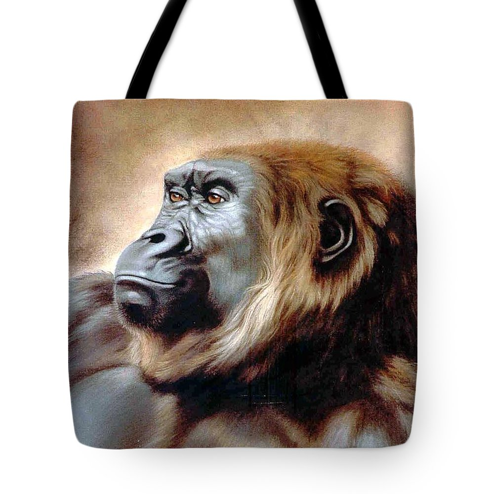 Gorilla Tote Bag featuring the painting Suzie Q by Deb Owens-Lowe