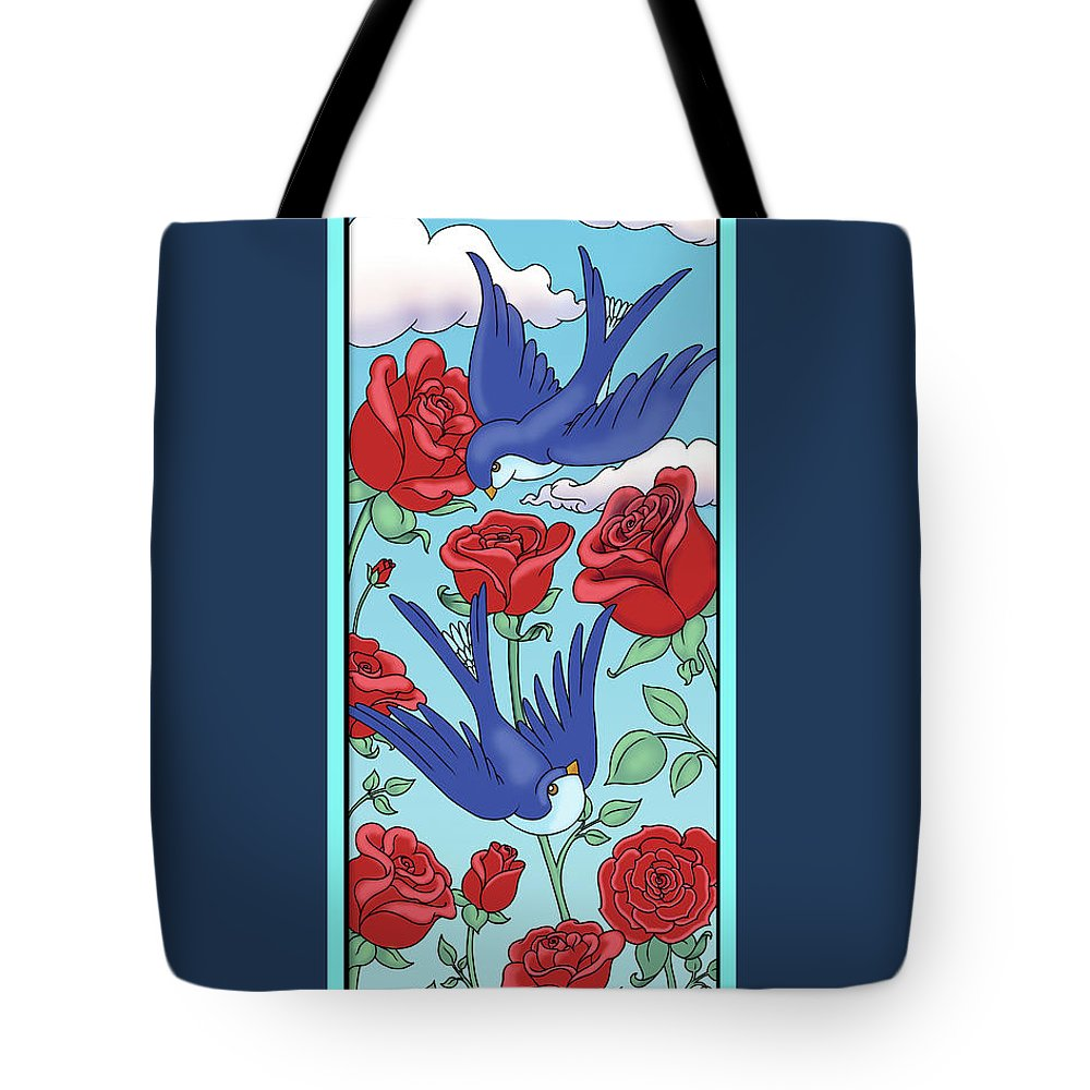 Birds Tote Bag featuring the digital art Swallows And Roses by Eleanor Hofer