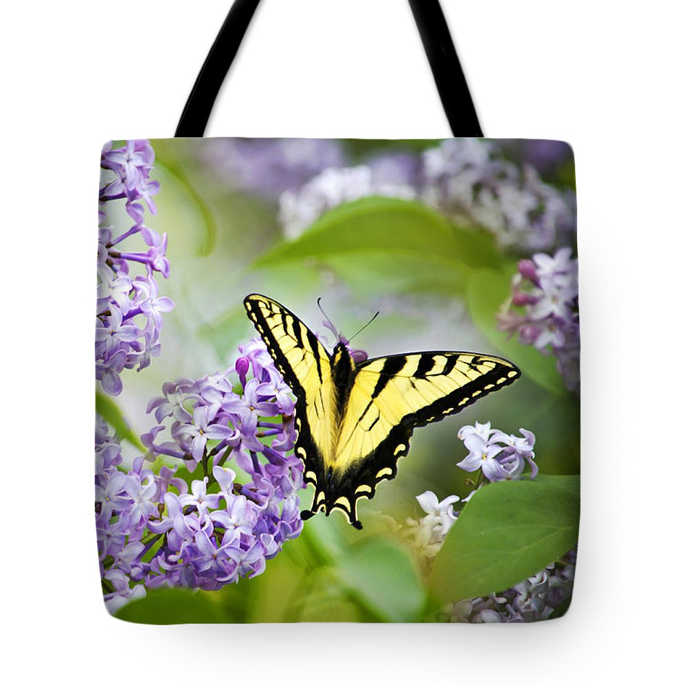 Butterfly Tote Bag featuring the photograph Swallowtail Butterfly On Lilacs by Christina Rollo
