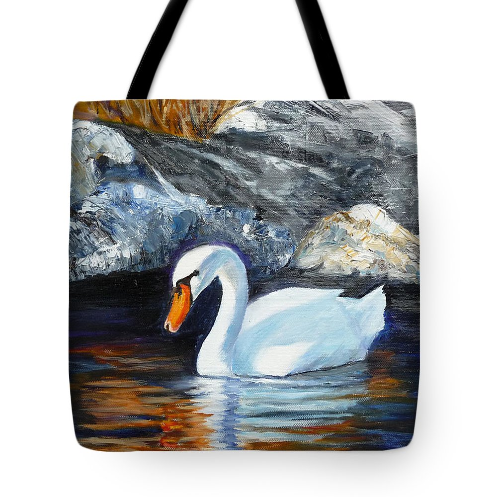 Swan Tote Bag featuring the painting Swan By Rocks by Lyn Tietz