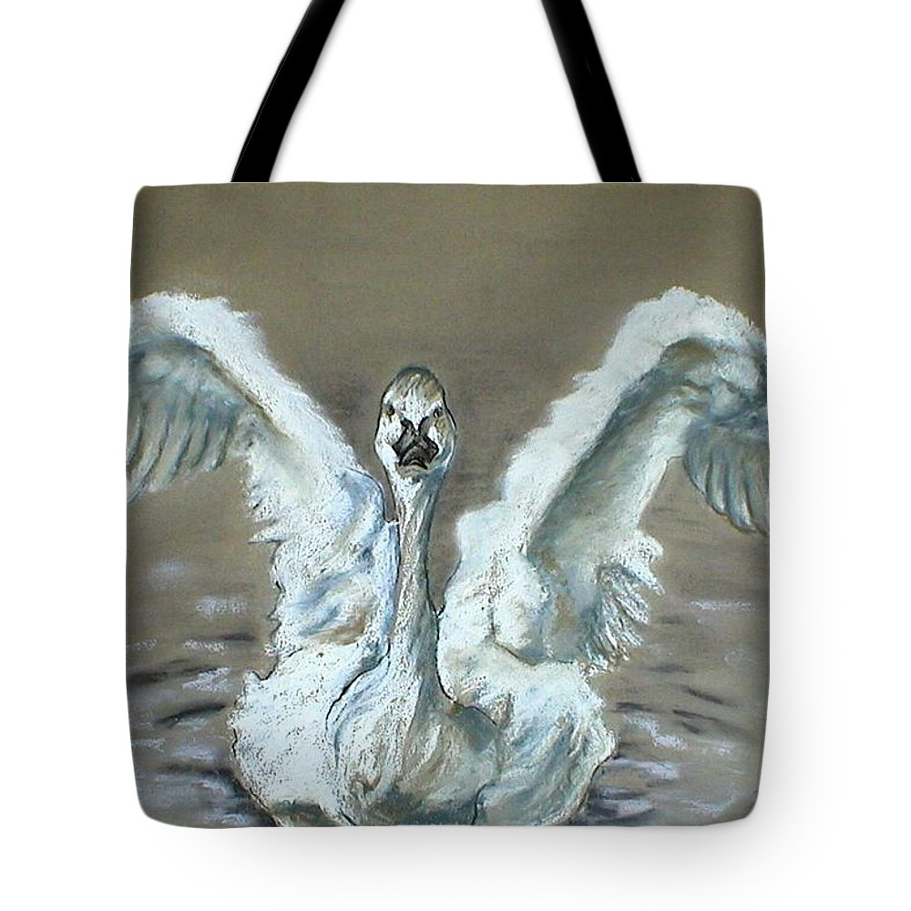 Swan Tote Bag featuring the drawing Swan Dance by Cori Solomon
