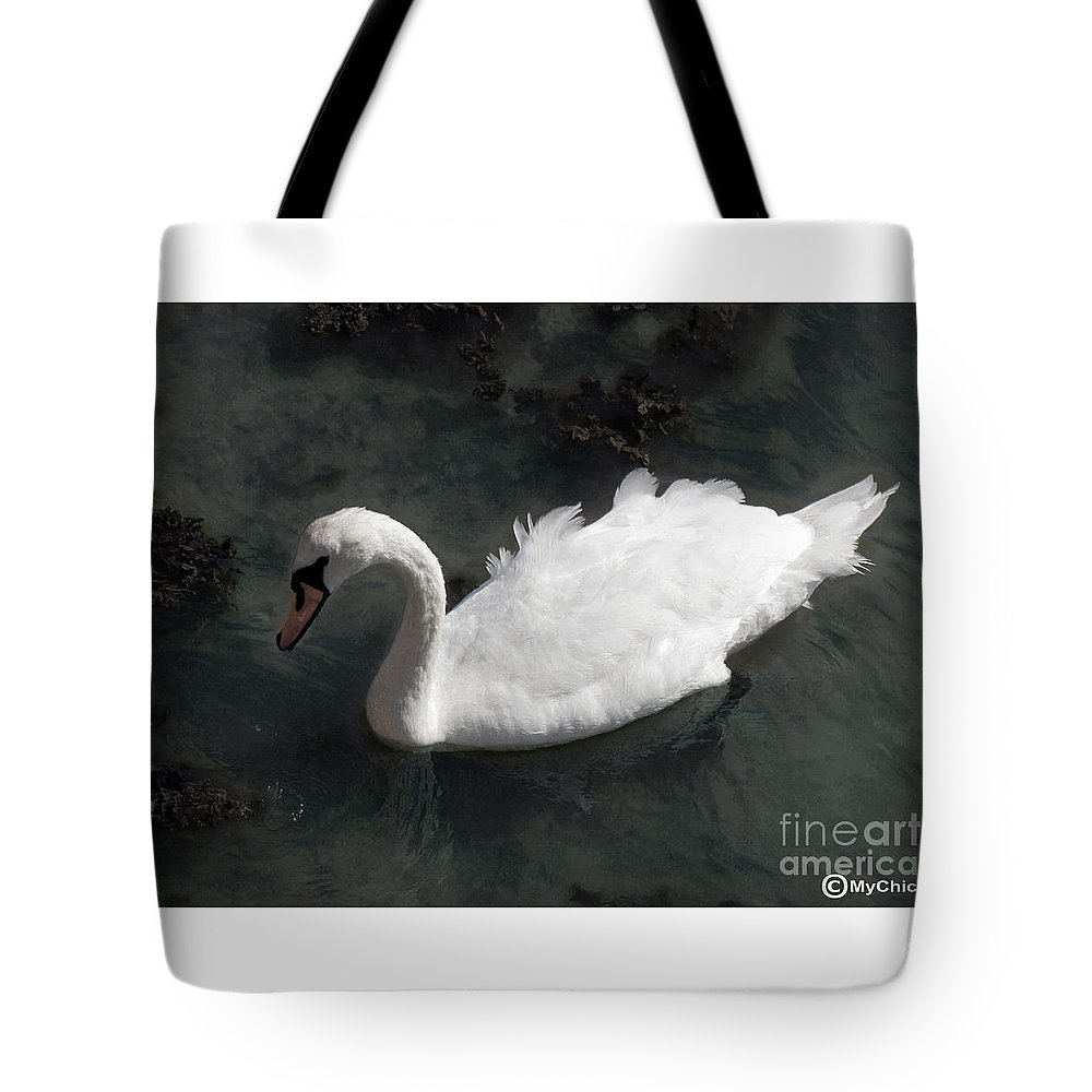 Swan Tote Bag featuring the photograph Swan Gracie by Art by MyChicC
