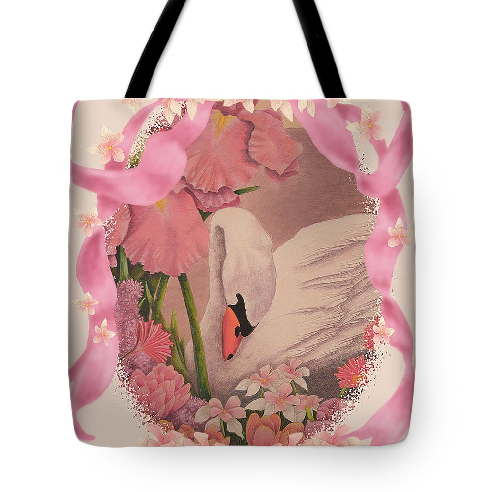 Card Tote Bag featuring the digital art Swan In Pink Card by Teresa Frazier