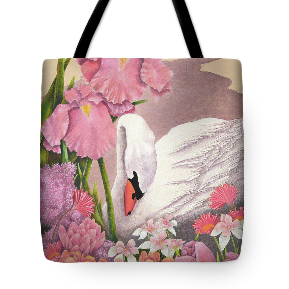 Swan Tote Bag featuring the drawing Swan In Pink by Teresa Frazier