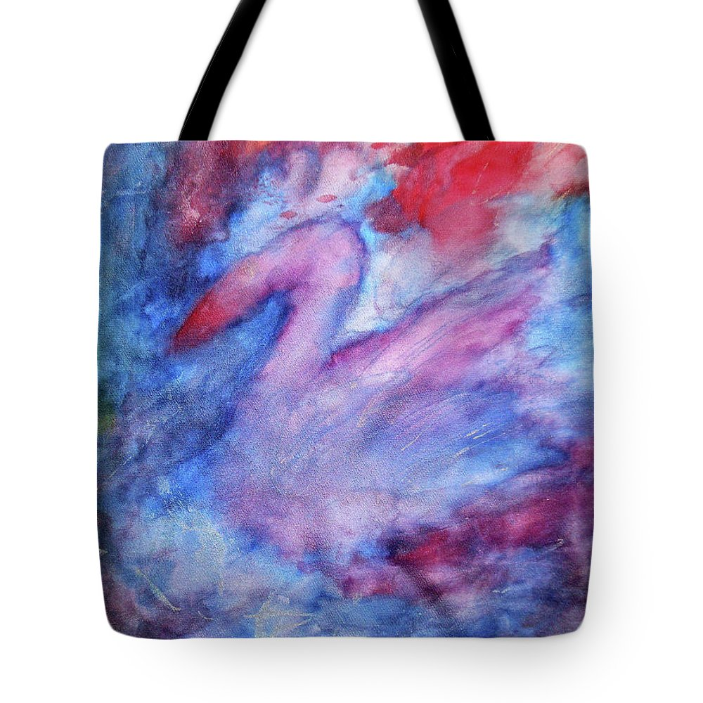 Swan Tote Bag featuring the painting Swan by Maja Smid