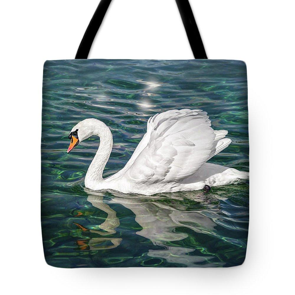 Swan Tote Bag featuring the photograph Swan On Lake Geneva Switzerland by Carol Japp